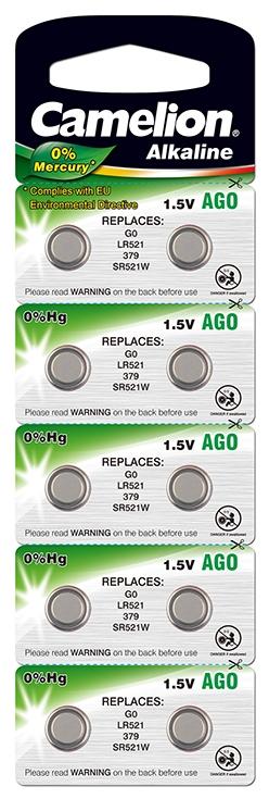 Blister 10 piles AG 0 / LR63 / LR521 / 379 Camelion 0% mercure