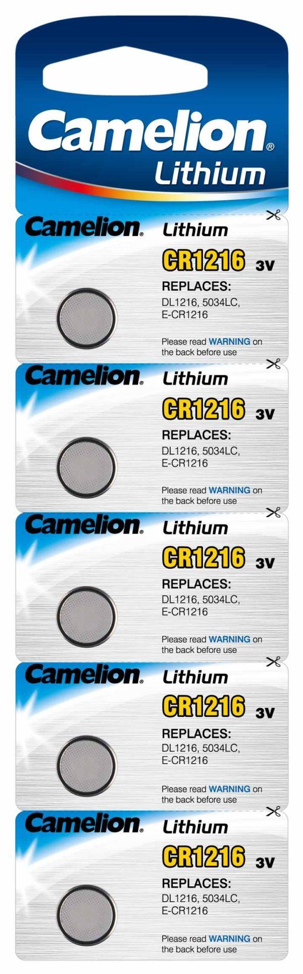 Blister 5 piles CR1216 3V Lithium