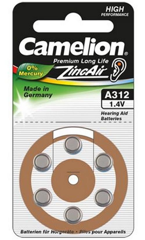 6 piles Auditives A312 0%Mercure Camelion