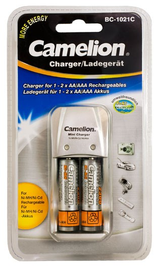 Chargeur Prise BC-1021 + 2 accus AA 2300mAh