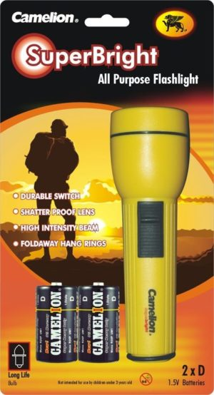 Lampe de poche + 2 piles D FL2DB2R20P