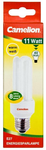 Ampoule fluocompacte 3U - 11W / E27 / 2700K couleur blanc chaud