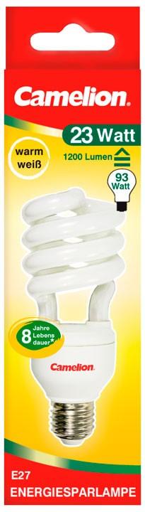 Ampoule fluocompacte T4 Spiral 23W E27 2700K couleur blanc chaud