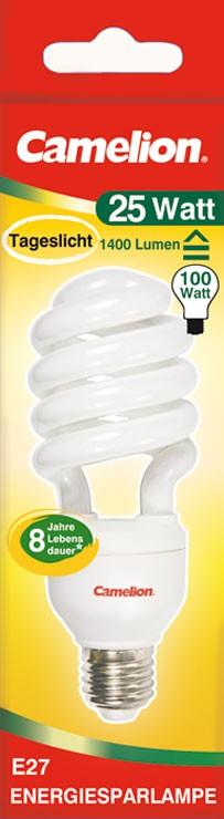 Ampoule fluocompacte T4 Spiral 25W E27 6400K couleur blanc jour