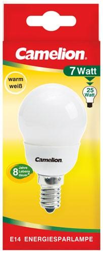 Ampoule fluocompacte Mini Globe G45 7W E14 2700K couleur blanc chaud