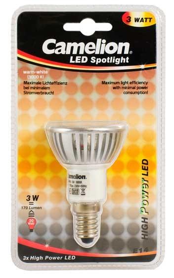 Ampoule Spot Led CPH019 E14 3 LED 3 Watt 220 Lumen 2800K couleur blanc chaud