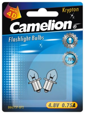 2 Ampoules pour lampes de poche BK4 75P (4,8 V 0,75A Krypton) sous blister