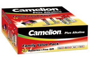 Boite d'assortiment de 28 piles alcalines + porte cle Camelion