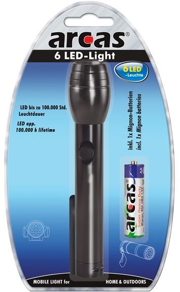 Arcas Torche ARC-6 LED 6 LED avec 1 pile AA