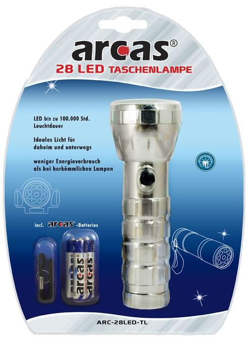 Arcas Torche ARC-28 LED 28LED avec 3 piles AAA