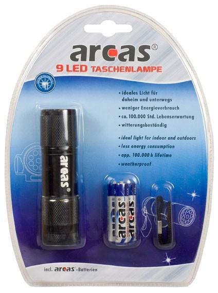 Arcas Lampe de poche ARC-9 LED 9 LED avec 3 piles AAA