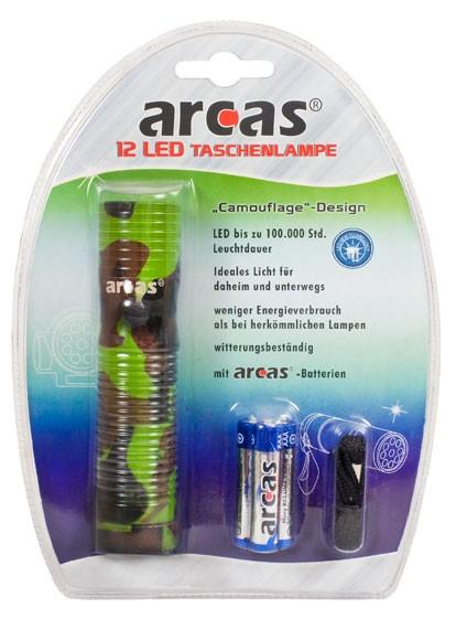 Arcas Lampe de poche ARC-12 LED Camouflage 12 LED avec 3 piles AAA