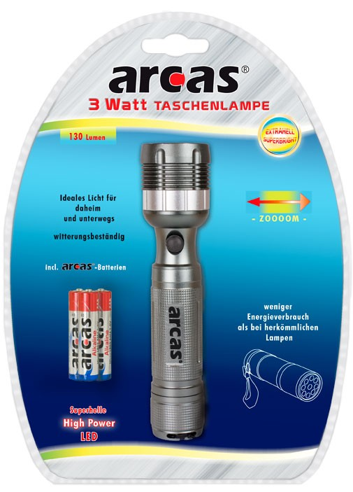 Arcas Torche ARC-3 Watt Zoom LED-torch 1 x Led avec 3 piles alcalines AAA