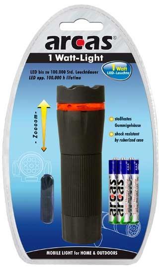 Arcas Torche ARC-1 Watt Zoom LED / 1 Ultra puissante LED avec 3 piles AAA