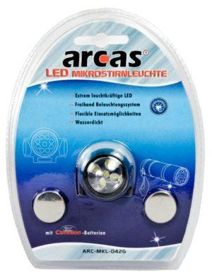 Arcas Lampe frontale AHL 5 LED waterproofed HL avec 5 x LED avec 2 piles CR2032