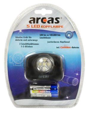 Arcas Lampe frontale ARC-Str-07 avec 5 x LED avec 3 x piles AAA