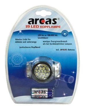 Arcas Lampe frontale ARC-19LED-HL avec 19 LED avec 3 x piles AAA