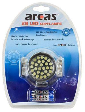 Arcas Lampe frontale ARC-28 LED-HL avec 28 LED avec 3 x piles AAA