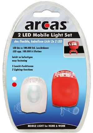 Set Lampes mobiles/vélo 2 LED / 1 lampe rouge 2 Led et 1 lampe blanche 2 Led + 2 piles CR2032