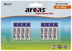 Arcas blister de 8 piles R03 / AAA / 1,5V