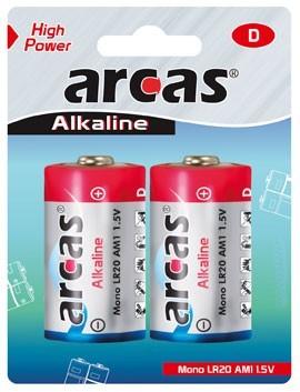 Arcas blister de 2 piles Alcalines LR20 / D / 1,5V