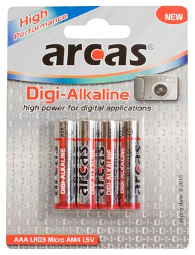 Arcas blister de 4 piles Digi-Alcalines LR03 / AAA / 1,5V