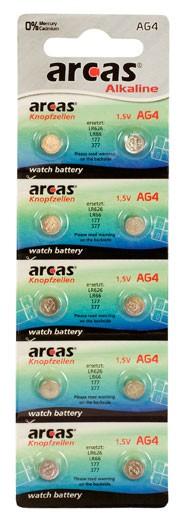 Arcas Blister de 10 piles boutons AG 4 / LR66 / LR626 / 377