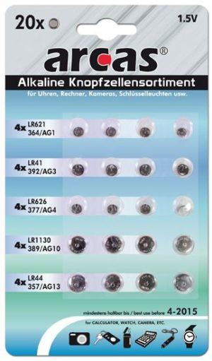 Arcas Mix de piles bouton 1,5V type AG Set de 20pcs (4xAG1, 4xAG3, 4xAG4, 4xAG10, 4xAG13)
