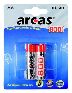 Arcas Blister de 2 Accus NiMH HR6 / AA / 800mAh / 1,2V