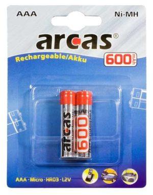 Arcas Blister de 2 Accus NiMH HR03 / AAA / 600mAh / 1,2V