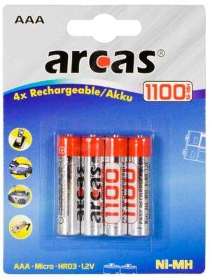 Arcas Blister de 4 Accus NiMH HR03 / AAA / 1100mAh / 1,2V