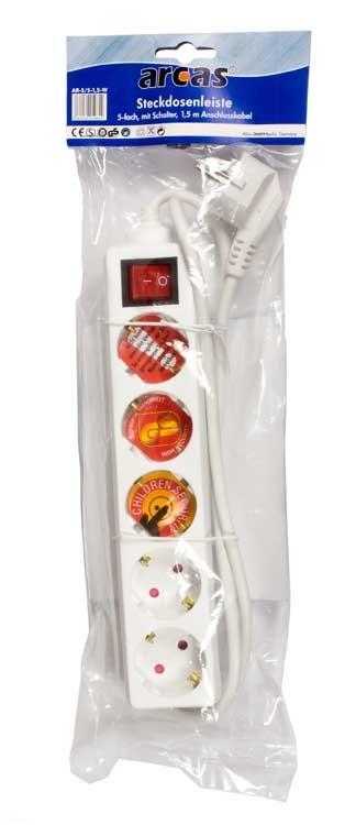 Arcas Multiprise 5 prises avec interrupteur / securite enfants / sachet/blister