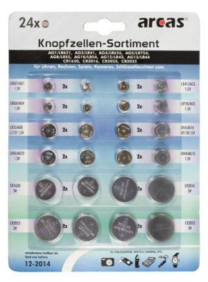 Arcas AG Alcaline + CR Lithium 24 pieces. (2xAG1 / 2xAG3 / 2xAG4 / 2xAG5 / 2xAG8 / 2xAG10/ 2xAG12 / 2xAG13 / 2xCR1620 / 2xCR201
