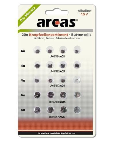 20 piles boutons alcalines mixte Arcas