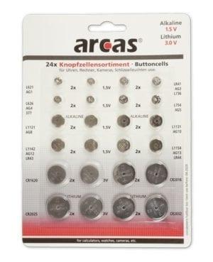 mixte 24 piles bouton lithium et alcaline Arcas