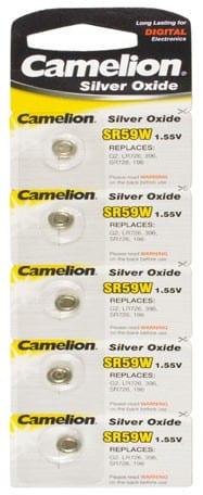 Blister de 5 piles SR59W / G2 oxydes d'argent Camelion