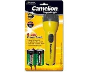 Lampe 6x LED SuperBright + 2 piles D Camelion FL6L2D