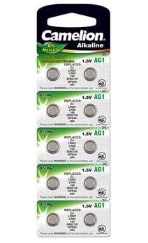 10 piles AG 1 / LR60 / LR621 / 364 Camelion 0% mercure