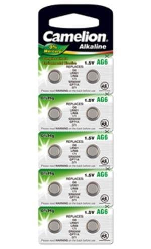 10 piles AG 6 / LR69 / LR921 / 371 Camelion 0% Mercure