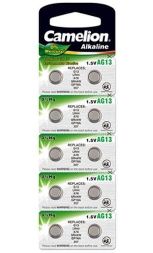10 piles AG 13 / LR44 / LR1154 / 357 Camelion 0% mercure