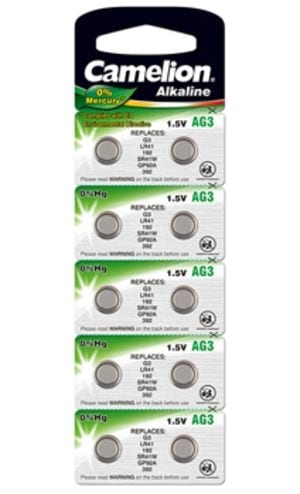 10 piles AG 3 / LR41 / LR736 / 392 Camelion 0% Mercure