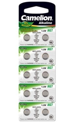 10 piles AG 7 / LR57 / LR926 / 395 Camelion 0% mercure