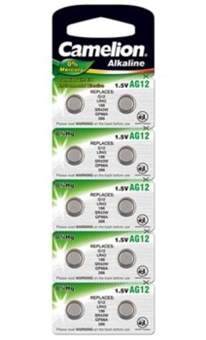 10 piles AG 12 / LR43 / LR1142 / 386 Camelion 0% mercure