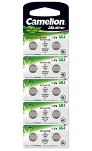 10 piles AG 4 / LR66 / LR626 / 377 Camelion 0% Mercure