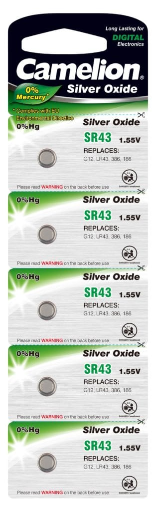 Blister de 5 piles SR43 / G12 oxydes d'argent Camelion 0% mercure