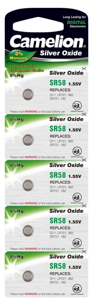 Blister de 5 piles SR58W / G11 oxydes d'argent Camelion 0% mercure