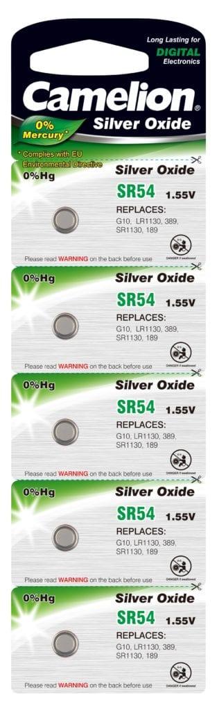 Blister de 5 piles SR54 / G10 oxyde d'argent 0% mercure Camelion
