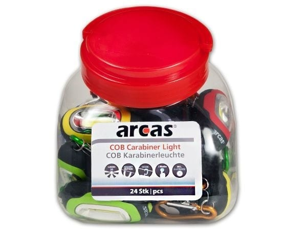 Boite de 24 porte-clef mousqueton Arcas COB LED