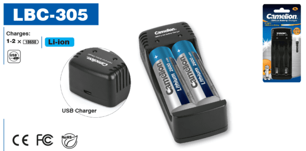 Chargeur USB Lithium-ion Camelion ICR18650F